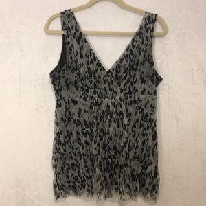 MICHAEL Kors Sheer Animal Print Camisole. Size L